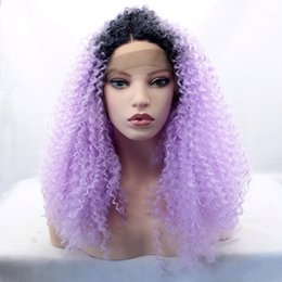Wholesale wig purple long dark - Light Putple Long Ombre Kinky Curly Wigs for Black Women Cosplay Synthetic Lace Front Wig Heat Resistant Wigs Dark Root Purple Ombre Hair