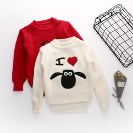 Wholesale Girl Coat Heart - Retails Autumn Baby Girl Sweaters Heart Knitted Pullover Long Sleeves Cartoon Sheep Printed Knitting Outwear Coats for Baby Girl