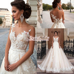 Wholesale Turkey Cover - Vintage Arabic Milla Nova 2018 A line Wedding Dresses Lace Turkey Women Country Western Sheer Neck Sexy Back Button Covered Bridal Gowns