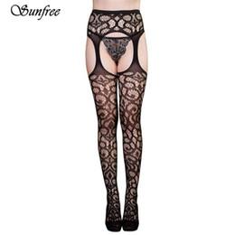Wholesale Hot Garter Belt - Sunfree 2017 Sexy Womens Lingerie net Lace Top Garter Belt Thigh Stocking Pantyhose New hot Brand New and High Quality Feb 21