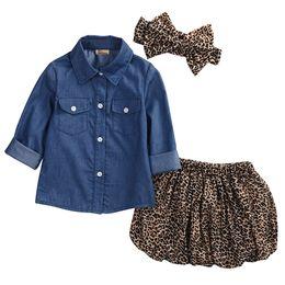 Wholesale Girls Leopard Tops - Super Cute 3PC Toddler Baby Girls Denim Shirt Top+Leopard skirt+headband Clothing Sets Kids Clothes set Outfits