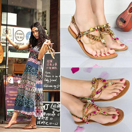 Gold Beaded Flat Sandals Australia | New Featured Gold