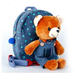 Wholesale Plush Bear Backpack - 2017 New boy girl plush backpack Lovely Children's School backpack Blue bear cute toys for kids gift