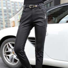 Wholesale High Waist Leather Hot Pants - Hot Sale Fashion Thicken Women Pu Leather Motorcycle Pants High Waist Women Pencil Pants Skinny Trousers For (with belt)