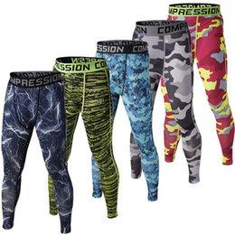 Wholesale Drawstring Skinny Pants - Mens Compression Pants 2018 New Crossfit Tights Men Bodybuilding Pants Trousers Camouflage Joggers