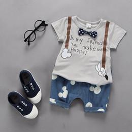 Wholesale outfit mouse - 2018 Summer Children Clothing Baby Boys Outfit Print T Shirt+mouse Short Pant 2pcs Baby Boy Clothes Set Roupa Infantil Newborn Boy Set