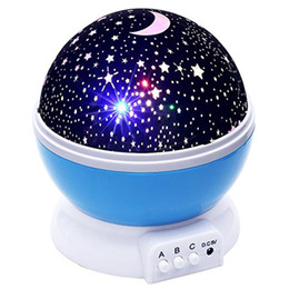 Wholesale Unique Stars - Baby Night Light Moon Star Projector 360 Degree Rotation - 4 LED Bulbs 9 Light Color Changing With USB Cable, Unique Gifts