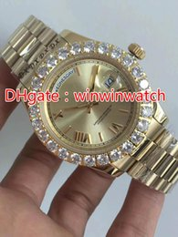 Wholesale Mens Big Case Watches - AAA Prong set diamonds bezel watch automatic mens luxury gold case Roman markers day date big diamonds watches