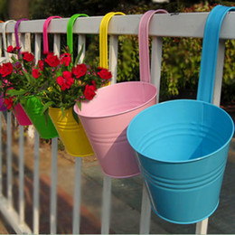 Wholesale Small Wall Hooks - iron flower holder 4pcs! New metal hanging barrels Removable hook wall pots iron flower holder indoor outdoor walls decorative plants