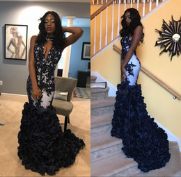 Wholesale popular image - Black Appliques 3D Flowers Mermaid Prom Dresses 2018 Popular Halter Keyhole Neckline Sexy Open Back African Arabic Evening Gowns