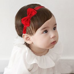 Wholesale Baby Hair Elastics - 20pcs lot 2016 Double bow headband newborn baby hair accessories girls elastics headbands flower satin ribbon children headwear