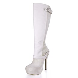 Wholesale platfrom heels - 14CM Ultra High Heels Knee-high Boots Women 3cm Platfrom Long Women Boots Beige Leather Fashion Shoes with Buckle Zip Winter Long Boots