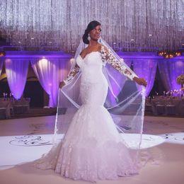 Canada Robes de mariée africaine, plus la taille de l'épaule manches longues en dentelle Appliques dentelle Custom Made robes de mariée sirène robes de mariée pas cher Offre
