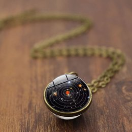 Pianeta cristallo online-Glow In The Dark Stella Luminosa Serie Planet Moon Pendente Collana Di Cristallo Cabochon Galaxy Regalo Di Natale Gioielli 12 PZ (Mixed Batch)