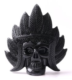 Wholesale hand carved skull - 300-400g Natural hand carved black stone obsidian crystal skull gemstone human indian head for healing Reiki