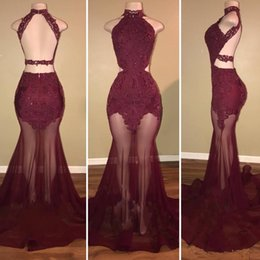 Wholesale See Through Lace Formal Dress - 2018 Gorgeous Burgundy Prom Dresses Long High Neck Backless See Through Lace-Appliques Formal Dresses Arabic Evening Dresses