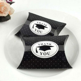 "Wholesale Graduation Cap Candy Box - 100pcs ""Thank You"" Black Graduation Bachelor Cap Gift Box Sweets Box Pillow Candy Favors Graduation Party Supplies"