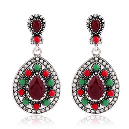 Wholesale Ear Drops Earrings Diamonds - Earless ear clip Retro bohemian ethnic style full diamond drops women's earrings Europe and the United States
