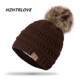 Wholesale Boys Add - High Quality Letter CC Beanies Cotton Add Wool Fur Ball Cap Pom Poms Winter Hat For Women Girl 's Hat Knitted Warm Beanies Cap