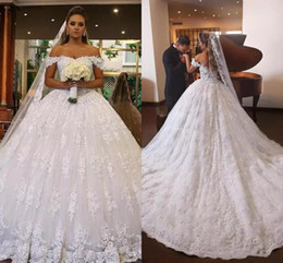 Wholesale Off Shoulder Sexy Gown - 2018 Modest Lace Wedding Dresses Pricness Ball Gown Lace Off Shoulder Applique Backless Wedding Bridal Gowns Vestidos De Novia MN
