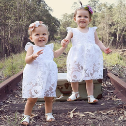 Wholesale Sister Girls - 2018 Sweet Summer Baby girl Lace Romper White Dress Toddler clothes Soft White lace Backless Sister clothing wholesale