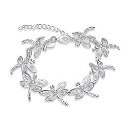 Wholesale Girls Jewlery - Allergic Free Women Silver Bracelet Jewlery S925 Silver Plated Dragonfly Bracelets for Girls Women Nice Jewelry Gift for Friends BRC-145