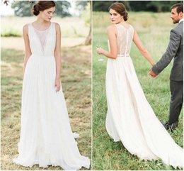 Wholesale Greek Backless Dress - Greek Wedding Dress Sheer Lace Round Neckline A-line Pleats Flowy Chiffon Bridal Gowns Chapel Train Ivory Elegant Simple Bride Dresses