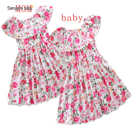 Wholesale Baby Clothes Model - Samgami baby models Eur and the USA summer burst female mother dress ins children's clothing floral skirt parent-child clothing