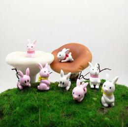 2019 miniature coniglio 4pcs carino coniglio mini animali in miniatura fata giardino decorazione della casa del mestiere micro paesaggistica decor fai da te accessori miniature coniglio economici