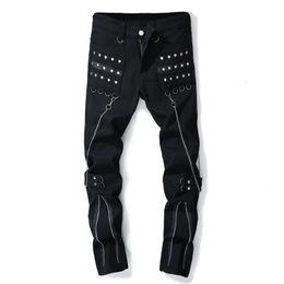 Costumi jeans online-Uomini nero multi cerniere rivetto punk rock jeans discoteca cantante DJ jeans a zampa jeans costume di scena mens hip hop denim pantaloni streetwear