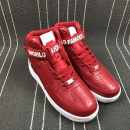 Wholesale Leather Bowl - AIR F0RCE 1 HIGH SUP Red White Basketball Shoes High Cut Winter Leather Basketbol Shoes Sports Outdoor Sneakers for Mens