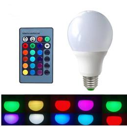 Wholesale Rgb Home Spot - E27 RGB LED Bulb 3W 5W 10W LED Lamps Spot Smart Bulb led light bulbs RGB 24Key IR Remote Control Home Christmas Decoration