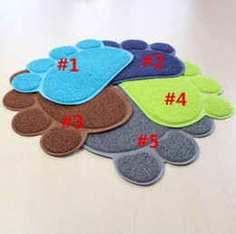 Wholesale Table Dishes - 100Pcs Footprint Foot Sleeping Pad Placemat Cat Litter Mat Dog Puppy Cleaning Feeding Dish Bowl Table Mats PVC Paw Shape Style 30*40cm