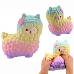 Wholesale Rainbow Stock - Jumbo Squishies Rainbow Alpaca Slow Rising Collection Gift Decor Stress Release Toy Kids Cartoon Sheep Christmas Gift CCA9424 20pcs