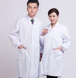 mulheres vestindo uniforme de enfermeiras Desconto Mulheres Homens Manga Comprida Médica Branco Uniforme Hospital Enfermeira Médico Cientista Laboratório de Laboratório Casaco de Laboratório Desgaste do Trabalho Proteger Roupas
