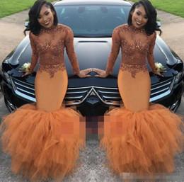 Wholesale Taffeta Mermaid Prom Dresses - Dust Orange Long Sleeve Mermaid Prom Dress 2018 Beads Appliques Evening Gown Sheer Jewel Neck jewel illusion applique missess