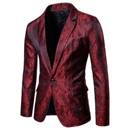Мужчины Red Floral Свадебное платье Blazer Jacket Business Slim Fit One Button Stage Jacket для мужской вечеринки Сценические костюмы Blazers