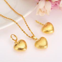 Wholesale Earring Golden Heart - african Habesha Set Ethiopia heart pendant Necklace Earrings Gold Color Dubai Sudan women girls Wedding bridal jewelry Gift