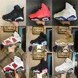 Wholesale Race Rings - 2018 Men 6 6s Basketball Shoes UNC Six Rings black white Gatorade Wheat Black cat Infrared Carmine high quality sports sneakers eur 40-47