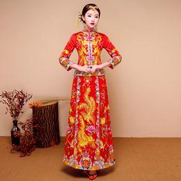 Deutschland Neues rotes traditionelles Hochzeitskleid Qipao-Staatsangehörig-Kostüm-Frauen Übersee-chinesische Art-Braut-Stickerei Cheongsam S-XXL Versorgung