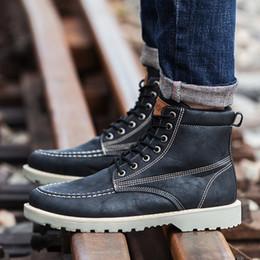 botas de invierno para hombres Rebajas Hombres Botas de cuero Estilo brogue Otoño e invierno Clásico Hombres Botas British Martin Plus Size erf45