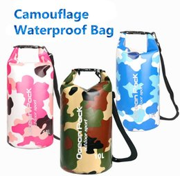 Wholesale waterproof backpack camouflage - Beach waterproof bucket PVC Bag Travel Bucket Beach Bags Netted Waterproof Bucket Outdoor Drifting bag Camouflage Sports Backpack #MC01
