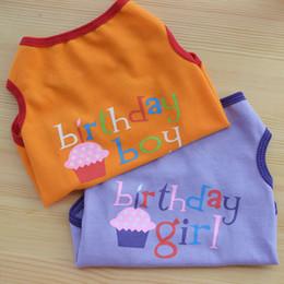 bolo de gato bonito Desconto Roupas de verão Para O Pequeno Gato Do Cão Do Meio XS-L Menino Menina Aniversário Bonito Bolo Impresso Pet Vest QW7533