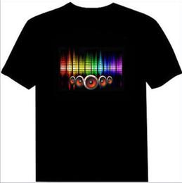 El geführtes hemd online-EL blinkende Männer sprachaktivierte LED-Licht T-Shirt Männer Party Konzert Persönlichkeit Modenschau T-Shirt Sound Shiny T-Shirt Größe XXS-3XL