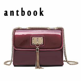 ANTBOOK Fashion Tassel Women Chain Shoulder Bags Ladies New Patent Leather  Handbags Designer Solid Women Messenger Crossbody Bag c36ef75842e62