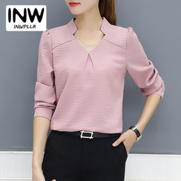 Wholesale White Work Shirts For Women - 2018 New Arrival Women Blouse Autumn Work Wear Office Shirts Femme V-neck Long Sleeve Ladies Tops Striped Blusa For Mujer