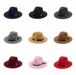 Discount wide adjustable belt - Women Winter Wool Belt Fedora Cap Wide Brim Cowboy Hat Panama Hat Trilby Cap Belt Buckle Band Hats 11 Colors 150pcs OOA4062