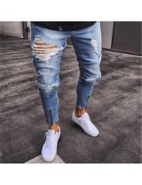 Wholesale Men Jean Capris - Men Denim Jean Pants Hole Hip Hop Street Wear Straight Blue Rock Stretch Destroyed Skinny Men Jeans S-3XL