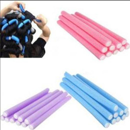 Wholesale Flexi Curlers - Hair Curling Flexi rods Magic Air Hair Roller Curler roller Sticker random colors