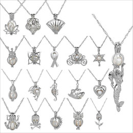 Wholesale heart locket design - Pearl Cage Pendant Necklace Love Wish natural With Oyster Pearl Mix Design Fashion Hollow Locket Clavicle Chain Necklace DIY gift wholesale